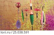 Купить «Float and baits on a fishing net background», видеоролик № 25038591, снято 31 января 2010 г. (c) Куликов Константин / Фотобанк Лори