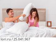 Купить «Family conflict with wife husband in bed», фото № 25041967, снято 17 ноября 2016 г. (c) Elnur / Фотобанк Лори