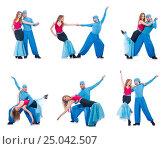 Купить «Pair of dancers dancing modern dance isolated on white», фото № 25042507, снято 19 февраля 2013 г. (c) Elnur / Фотобанк Лори