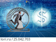 Купить «Business concept with businessman running on hamster wheel», фото № 25042703, снято 20 марта 2019 г. (c) Elnur / Фотобанк Лори
