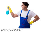 Купить «Man with cleaning agents isolated on white background», фото № 25043067, снято 31 октября 2016 г. (c) Elnur / Фотобанк Лори