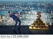 Купить «Businessman pulling dollar and gold bullions», фото № 25048099, снято 9 июля 2020 г. (c) Elnur / Фотобанк Лори