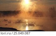 Купить «Snags in the river water in early winter morning», видеоролик № 25049087, снято 27 января 2017 г. (c) Serg Zastavkin / Фотобанк Лори