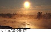 Купить «Snags in the river water in early winter morning», видеоролик № 25049171, снято 27 января 2017 г. (c) Serg Zastavkin / Фотобанк Лори