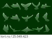 Купить «Set of flying green doves on dark green background», иллюстрация № 25049423 (c) Александр Подшивалов / Фотобанк Лори