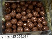 Купить «close up of chocolate dragee candies in box», фото № 25056699, снято 2 ноября 2016 г. (c) Syda Productions / Фотобанк Лори