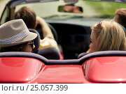happy friends driving in convertible car at summer, фото № 25057399, снято 28 мая 2016 г. (c) Syda Productions / Фотобанк Лори
