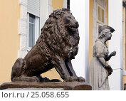 Купить «Статуя льва в городе Цетинье, Черногория», эксклюзивное фото № 25058655, снято 10 апреля 2016 г. (c) Артём Крылов / Фотобанк Лори