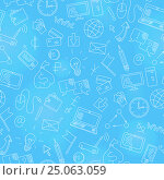 Купить «Seamless background on the topic of information technology and earn money online, simple hand-drawn contour icons,white outline on a blue background», иллюстрация № 25063059 (c) Наталья Загорий / Фотобанк Лори