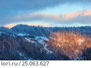 Купить «Evening winter Ukrainian Carpathian Mountains landscape.», фото № 25063627, снято 15 января 2017 г. (c) Юрий Брыкайло / Фотобанк Лори