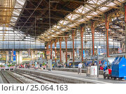 PARIS, FRANCE - JULY 09, 2016 : High speed train at the North Railways station(Gare de Nord). Speed train is comfortable, speed and most convenience in France. Редакционное фото, фотограф Vitas / Фотобанк Лори