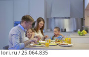 Купить «Family with children in kitchen», видеоролик № 25064835, снято 18 января 2020 г. (c) Raev Denis / Фотобанк Лори