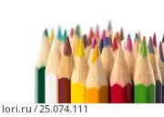 Цветные карандаши для рисования, крупным планом на белом фоне. Стоковое фото, фотограф Артем Силионов / Фотобанк Лори