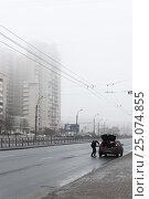 Купить «Санкт-Петербург. Оттепель. Индустриальный проспект», эксклюзивное фото № 25074855, снято 28 января 2017 г. (c) Александр Щепин / Фотобанк Лори