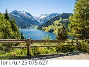 Купить «Durlaßboden reservoir, Gerlos-Königsleiten, Zillertaler alps, Tyrol, Austria», фото № 25075627, снято 25 августа 2016 г. (c) mauritius images / Фотобанк Лори