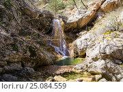 Купить «Родниковский водопад в Крымском весеннем лесу», фото № 25084559, снято 29 марта 2014 г. (c) Выскуб Анна / Фотобанк Лори