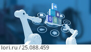 Купить «Composite image of robotic hands holding computer icons over blue background», фото № 25088459, снято 24 марта 2019 г. (c) Wavebreak Media / Фотобанк Лори