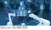 Купить «Composite image of white robotic hands holding computer icons on blue background», фото № 25089559, снято 24 марта 2019 г. (c) Wavebreak Media / Фотобанк Лори