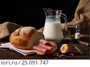 Rural breakfast on a table. Стоковое фото, фотограф Максим Стриганов / Фотобанк Лори