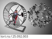 Купить «Business concept with businessman running on hamster wheel», фото № 25092003, снято 20 марта 2019 г. (c) Elnur / Фотобанк Лори