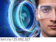 Купить «Futuristic vision concept with businessman», фото № 25092327, снято 22 сентября 2019 г. (c) Elnur / Фотобанк Лори