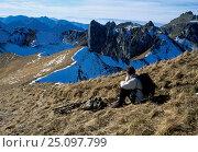 Купить «High ridges Haute Savoie with Alpine ibex (Capra ibex) hiker Haute Savoie Alps France», фото № 25097799, снято 19 августа 2018 г. (c) Nature Picture Library / Фотобанк Лори