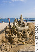 Купить «A beautiful sand sculpture being built on Cannes beach, France.», фото № 25103051, снято 16 июля 2018 г. (c) Nature Picture Library / Фотобанк Лори