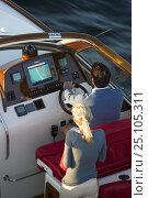 Купить «Couple aboard a Hinckley T38R speedboat travelling fast, Rhode Island, USA.», фото № 25105311, снято 15 августа 2018 г. (c) Nature Picture Library / Фотобанк Лори