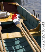 Купить «Red, white and blue oar blades and a lifering on the deck of a boat at the Newport Wooden Boat Show, Rhode Island.», фото № 25105943, снято 16 октября 2019 г. (c) Nature Picture Library / Фотобанк Лори