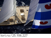 """Купить «Aerial of 140ft luxury schooner """"Skylge"""", designed by André Hoek and built by Holland Jachtbouw, sailing under spinnaker in the French Riviera, France. Property released.», фото № 25106227, снято 18 июля 2018 г. (c) Nature Picture Library / Фотобанк Лори"""