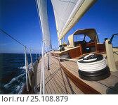 Купить «Immaculate teak decks and winch detail on a cruising yacht 1998.», фото № 25108879, снято 23 февраля 2018 г. (c) Nature Picture Library / Фотобанк Лори