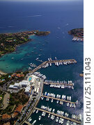 Купить «Aerial view of Porto Cervo marina, Sardinia, Italy. ^^^The Port was once the haunt of the international jetset.», фото № 25111043, снято 16 августа 2018 г. (c) Nature Picture Library / Фотобанк Лори