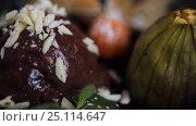 Купить «chocolate ice cream dessert on plate», видеоролик № 25114647, снято 17 января 2017 г. (c) Syda Productions / Фотобанк Лори