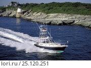 Купить «Little Harbor whisper jet powerboat with tuna fishing tower, Rhode Island, USA», фото № 25120251, снято 20 сентября 2018 г. (c) Nature Picture Library / Фотобанк Лори