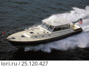 Купить «Little Harbor Whisperjet powerboat cruising.», фото № 25120427, снято 20 сентября 2018 г. (c) Nature Picture Library / Фотобанк Лори