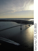 Купить «Powerboat motoring under the Newport Bridge at sunset, Rhode Island, USA.», фото № 25120883, снято 20 сентября 2018 г. (c) Nature Picture Library / Фотобанк Лори