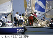 """Купить «""""Zurich"""" and """"Relax"""" collide at speed during close racing at the One Ton Cup, 1991.», фото № 25122599, снято 9 апреля 2020 г. (c) Nature Picture Library / Фотобанк Лори"""