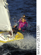 Купить «Young boy sailing an Optimist dinghy during training in Florida, USA. Model Released.», фото № 25123591, снято 19 июня 2019 г. (c) Nature Picture Library / Фотобанк Лори