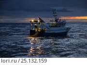 Купить «Dawn breaking over the fishing grounds west of Shetland. April 2015.  Property released.», фото № 25132159, снято 12 июля 2020 г. (c) Nature Picture Library / Фотобанк Лори