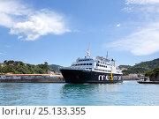 Купить «Ferry boat departs Ischia port, Ischia Island, Italy, Tyrrhenian Sea, Mediterranean. June 2009.», фото № 25133355, снято 18 апреля 2019 г. (c) Nature Picture Library / Фотобанк Лори