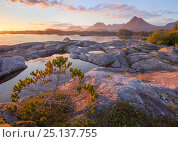 Купить «Sunset on the outer coast of Chichagof Island with the White Sulphur Hotsprings in the distance, South East Alaska, USA, July», фото № 25137755, снято 17 июля 2018 г. (c) Nature Picture Library / Фотобанк Лори
