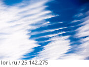 Купить «Cirrus clouds displaying wind shear, Brechin, Scotland, UK, September.», фото № 25142275, снято 23 мая 2018 г. (c) Nature Picture Library / Фотобанк Лори