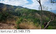 Купить «Eastern chimpanzee (Pan troglodytes schweinfurtheii) juvenile male 'Tarzan' aged 11 years looking out over the Kakombe valley from 'Jane's Peak'. Gombe National Park, Tanzania.», фото № 25149775, снято 22 июля 2018 г. (c) Nature Picture Library / Фотобанк Лори