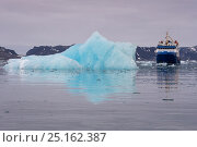 Купить «MS Quest passing iceberg, Björnfjorden, Svalbard, Norway, September 2014. All non-editorial uses must be cleared individually.», фото № 25162387, снято 21 января 2019 г. (c) Nature Picture Library / Фотобанк Лори