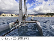 Купить «GC32 catamarans racing in the Great Cup Racing circuit, at the Extreme Sailing Series, Nice, Alpes-Maritimes, France, October 2013. All non-editorial uses must be cleared individually.», фото № 25208975, снято 15 августа 2018 г. (c) Nature Picture Library / Фотобанк Лори