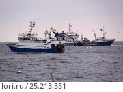Купить «Fishing vessels in close proximity hauling their nets on the North Sea, June 2013. All non-editorial uses must be cleared individually.», фото № 25213351, снято 7 декабря 2019 г. (c) Nature Picture Library / Фотобанк Лори