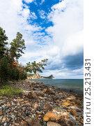 Берег, лес, облака. Стоковое фото, фотограф Андрей Валерьевич Иванов / Фотобанк Лори