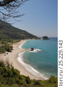 Overview of Potami beach near Karlovasi on the northeast coast of Samos. Eastern Sporades, Greece, July, 2012. Стоковое фото, фотограф Nick Upton / Nature Picture Library / Фотобанк Лори