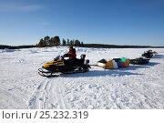 Купить «Skidoo snowmobile used to transport  equipment and people at the Arctic circle Dive Center, White Sea, Karelia, northern Russia, March 2010», фото № 25232319, снято 18 февраля 2019 г. (c) Nature Picture Library / Фотобанк Лори