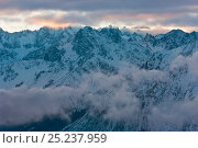 Купить «View into the misty mountains, Four Valleys region, Valais, Verbier, Bernese Alps, Switzerland January 2009», фото № 25237959, снято 19 июля 2018 г. (c) Nature Picture Library / Фотобанк Лори